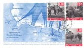 1994 D Day, Pair of Illustrated FDC's Showing the Invasion Beaches in Normandy, First Day of Issue Portsmouth H/S