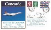 1980 British Airways Concorde 214 G-BFKW Filton - Heathrow Airport Delivery Flight Cover, Patchway Bristol cds, Signed by Pilots Brian Trubshaw & Brian Walpole