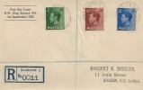 1936 King Edward VIII, ½d, 1½d, 2½d Definitive Issue, Registered Display FDC, Charing Cross Glasgow cds