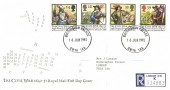 1992 English Civil War, Registered Royal Mail FDC, Buckingham Palace SW1 1AA cds