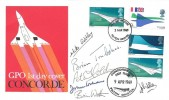 1969 Concorde, Post Office FDC, Filton Bristol FDI, Signed by Pilot and Crew of Concorde 002 Doubled Dated with First Concorde 002 First Flight  9th April 1969 H/S