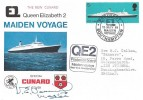 1969, Maiden Voyage of Queen Elizabeth 2, Cunard Official Cover, Paquebot Maiden Voyage Southampton H/S, Signed by the Master Captain Warwick