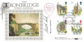 1989 Industrial Archaeology, Benham BLCS43 Official FDC, Birthplace of British Industry Ironbridge H/S, Flown by Royal Mail Balloon, Signed by Stamp Designer Ronald Maddox & Ironbridge Museum Director