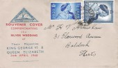 1948, King George VI Silver Wedding, North Herts. Stamp Club FDC, Letchworth Herts cds