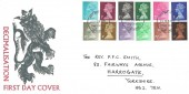 1971 ½p to 9d QEII Decimal Definitive Issue, William F Taylor FDC, Harrogate Yorkshire FDI