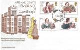 1980 Famous People, Arts & Crafts Embrace at Gawthorpe Hall FDC, Warrington FDI