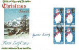 1966 Christmas, Connoisseur FDC, Block of 4 1/6d Stamps, Field Post Office 87 cds, Signed by the Designer of the 1/6d value James Berry