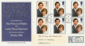 1981 Royal Wedding FDC Buckingham Palace Registered cds