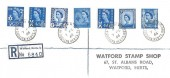 1966 4d Regionals, Jersey, Guernsey, Isle of Man, Scotland, Northern Ireland, Wales, Registered Plain FDC, Watford New Town Watford Herts. cds