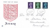 1967 3d, 9d, 1/6d QEII Definitive Issue, Stuart Jersey FDC, Jersey Channel Islands FDI