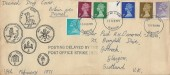 1971 ½p to 5p stamps only QEII Decimal Issue, Illustrated FDC, Glasgow FDI, Posting Delayed by the Post Office Strike 1971 Cachet