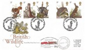 1977 British Wildlife, Post Office FDC, Educational Open Day Port Lympne Wildlife Sanctuary Hythe H/S, RHDR 10p Winston Churchill Railway Letter Stamp