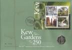2009 Kew Gardens M/S, Royal Mint 50p Kew Gardens 250 Coin FDC, 250th Anniversary of Kew Richmond Surrey H/S
