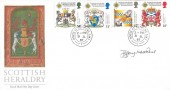 1987 Scottish Heraldry, Royal Mail FDC, House of Commons SW1 cds, Signed by Stamp Designer Jeffrey Matthews