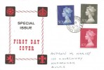 1970 10p, 20p, 50p QEII Large Format Machin Definitives, Illustrated FDC, Haddenham Aylesbury Bucks. cds