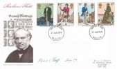 1979 Sir Rowland Hill, Post Office FDC, Glasgow FDI, Signed by the Stamp Designer Eric Stemp, Aug 79