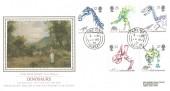 1991 Dinosaurs, Presentation Philatelic Silk No.71 FDC, Lyme Regis Dorset cds