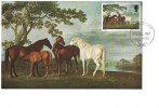 1967 Paintings, 9d Mares & Foals in a Landscape by George Stubbs, Maxicard, Worthing Sussex FDI