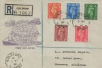 1951 Festival of Britain, Low Value Definitive Issue ½d to 2½d, Registered 1949 UPU FDC, Guildford Surrey cds