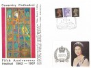 1967 4d, 1/-, 1/9d QEII Definitive issue, Coventry Cathedral FDC, The Fifth Anniversary Festival Coventry Cathedral H/S, 1977 Queen's Silver Jubilee sticker