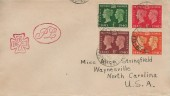 1940 Postage Stamp Centenary, Manchester Maltese Cross FDC, 4 stamps only, Clacton on Sea Essex cds