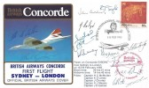 1985 British Airway First Flight Sydney - London Official Cover, Sydney International Airport N.S.W. 2020 H/S, Signed by the Crew