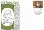 1971 Literary Anniversaries, Connoisseur FDC, 7½p Sir Walter Scott stamp only, Ilfracombe Devon cds