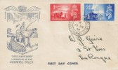 1948 Liberation of the Channel Islands, Blue Illustrated FDC, St. Aubins Jersey Channel Islands cds