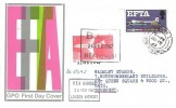 1967 European Free Trade Area (EFTA), GPO FDC, 1/6d Argosy Cargo Plane Stamp, Paisley Renfrewshire cds +1/- BEA Label cancelled BEA Heathrow Cachet