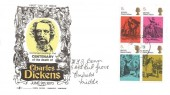 1970 Literary Anniversaries, Gemini Charles Dickens FDC, Block of 4 x 5d Dickens Stamps only, Ringwood cds