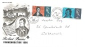 1966 Robert Burns, Stuart FDC, Godalming Surrey cds