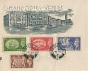 1951 Festival of Britain High Value Definitive Issue, 2/6d, 5s, 10s, £1, Grand Hotel Venise FDC, Battersea SW11 cds