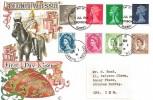 1968 QEII Definitive Machin Issue 5d, 7d, 8d, 10d, Connoisseur FDC, Croydon Surrey FDI, + Last Day of the Corresponding Wilding stamp issue, Croydon Surrey cds