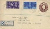 1946 Victory, 1½d KGVI Registered Envelope, Crook Co. Durham cds