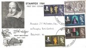 1964 Shakespeare Festival, Illustrated FDC with Stampex 1964 Overprinted, Belfast FDI