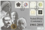 2001 Nobel Prize Centenary Westminster £2 Coin Official FDC