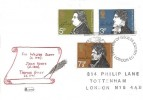 1971 Literary Anniversaries, Philcovers  FDC, First Day of Issue London EC H/S