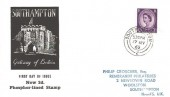 1965 QEII 3d Deep Lilac Phosphor Lined Definitive Issue, Southampton Gateway of Britain FDC, Southampton 2 cds