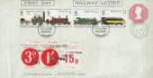 1975 Stockton & Darlington Railway, 7p Postal Stationery Envelope FDC, British Railways Newspaper Stamps, Stockport FDI & cds