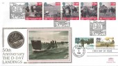 1994 D Day, Benham C1 50p D Day Coin FDC,  Doubled with USA Stamps, D Day Southampton H/S