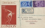 1948, Olympic Games Wembley, Registered Illustrated FDC, 2½d &3d stamps only, Addiscombe E.Croydon Surrey cds