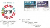 1967 European Free Trade Association EFTA, Philart FDC, Dudley & Zoo Brierley Hill Coseley Dudley Sedgley for Shopping & Free Car Parks Slogan