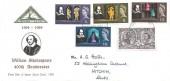 1964 Shakespeare Festival, North Herts. Stamp Club FDC, Stratford Upon Avon FDI