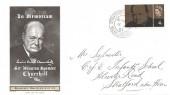 1965 Sir Winston Churchill, Chickering Jackson FDC, 4d stamp only Stratford Upon Avon Warwickshire cds