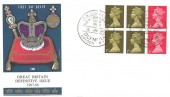 1969 QEII 10/- Mary Kingsley Booket Se-Tenant Pane Pre-dated 6th January 2 days early. Philart FDC, Daily Mail New Year Show Olympia London W14 H/S