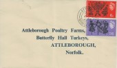 1965 Commonwealth Arts Festival, Attleborough Poultry Farm FDC, Attleborough Norfolk cds