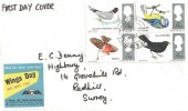 1966 British Birds, Plain FDC, Reigate & Redhill Surrey cds, Royal Air Forces Association Wings Day Label
