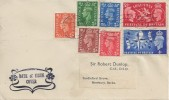 1951 Festival of Britain, Low Value Definitives ½d, 1d, 1½d, 2d, 2½d, & Commemorative stamps on one FDC, London W1 Cancel