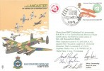 1975 RAF Stafford Open Day Cover, Lancaster of the Battle of Britain Flight Flown from RAF Coltishall, RAF Stafford Open Day British Forces 1508 Postal Service H/S, Signed by the Crew