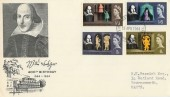 1964 William Shakespeare FDC (Phosphor) Stratford Upon Avon FDI